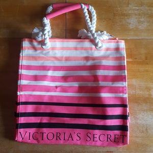 Victoria secret pink stripes tote bag